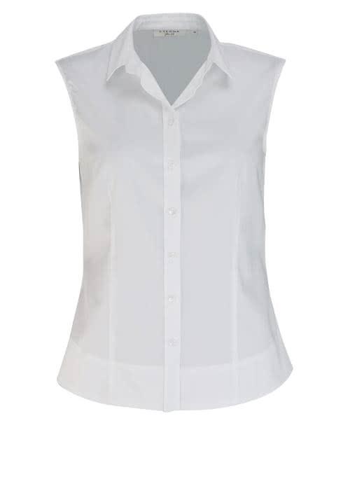 ETERNA Slim Fit Bluse ohne Arm Hemdenkragen Stretch weiß