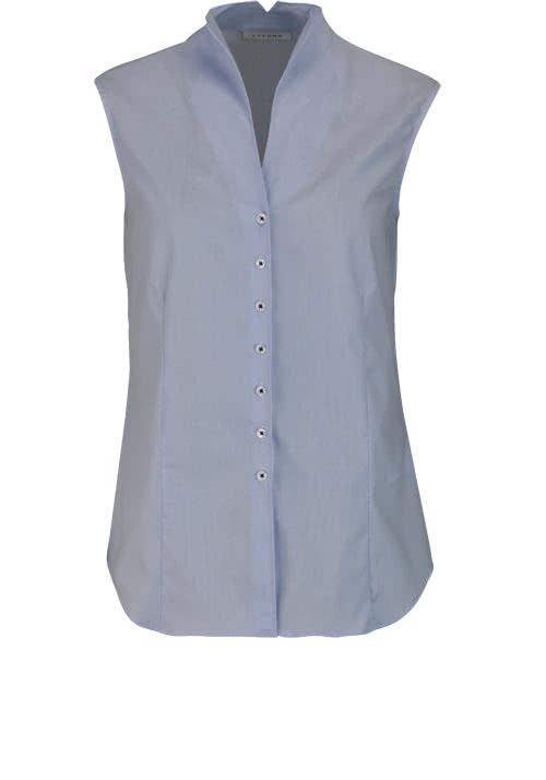 ETERNA Comfort Fit Bluse ohne Arm Kelchkragen Streifen hellblau