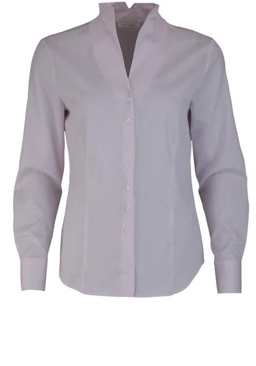 ETERNA Comfort Fit Bluse Langarm Kelchkragen Struktur rosa