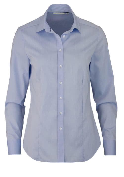 ETERNA Comfort Fit Bluse Langarm mit Hemdkragen hellblau