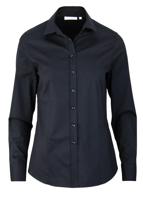 ETERNA Comfort Fit Bluse Langarm mit Hemdkragen schwarz
