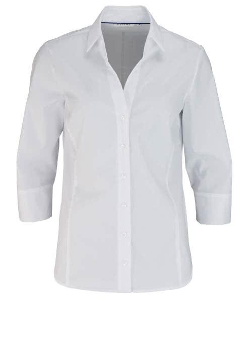 ETERNA Comfort Fit Bluse 3/4 Arm mit offenem Kragen weiß
