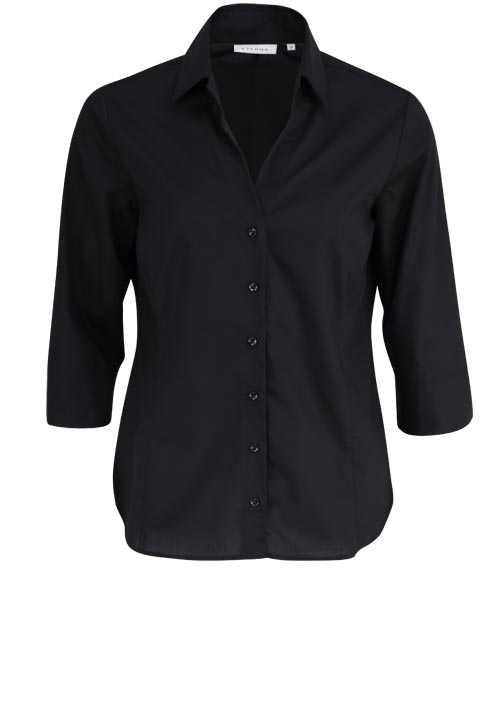 ETERNA Comfort Fit Bluse 3/4 Arm mit offenem Kragen schwarz
