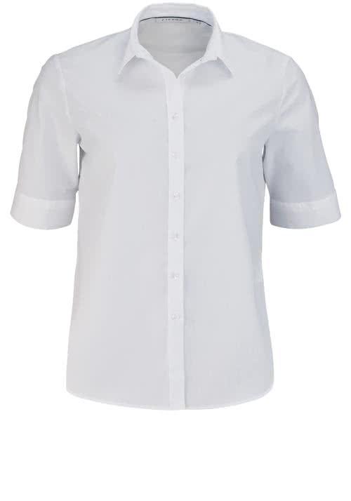 ETERNA Comfort Fit Bluse Halbarm mit Hemdkragen weiß