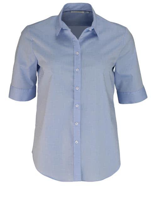 ETERNA Comfort Fit Bluse Halbarm mit Hemdkragen hellblau