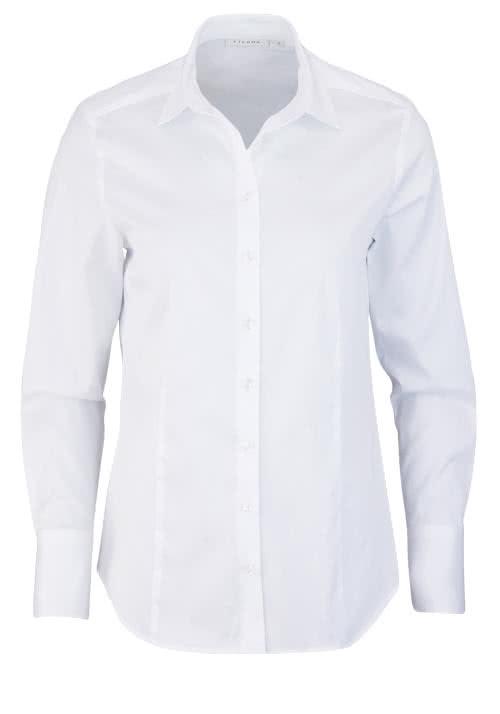 ETERNA Comfort Fit Bluse Langarm Hemdenkragen Schulterpasse weiß