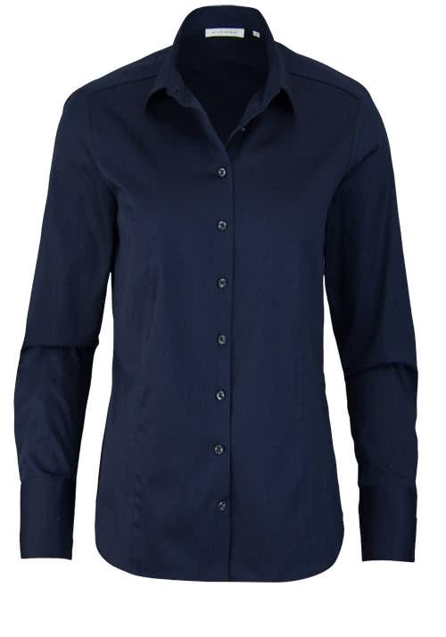 ETERNA Comfort Fit Bluse Langarm Hemdenkragen Schulterpasse nachtblau