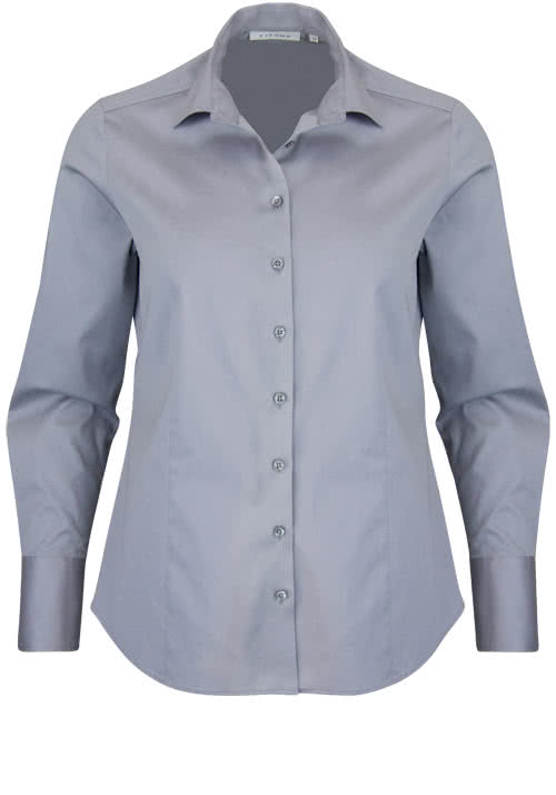 ETERNA Comfort Fit Bluse Langarm Hemdenkragen Schulterpasse grau