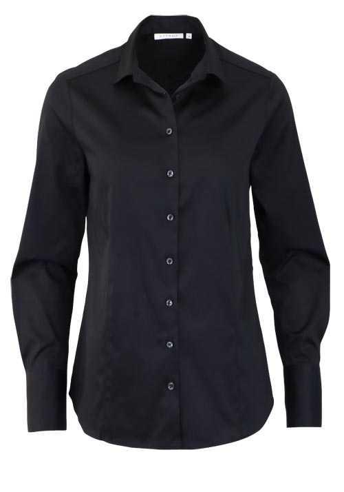 ETERNA Comfort Fit Bluse Langarm Hemdenkragen Schulterpasse schwarz