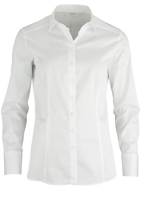 ETERNA Slim Fit Bluse Langarm Hemdkragen Stretch weiß