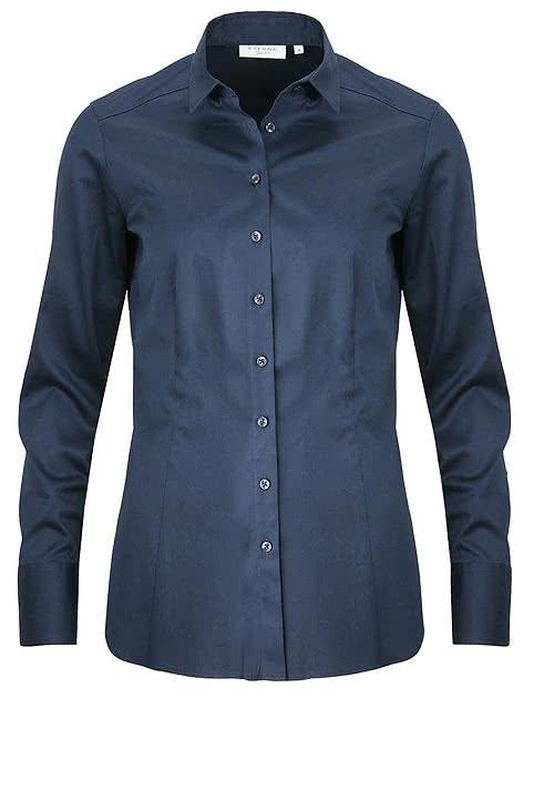 ETERNA Slim Fit Bluse Langarm Hemdkragen Stretch nachtblau
