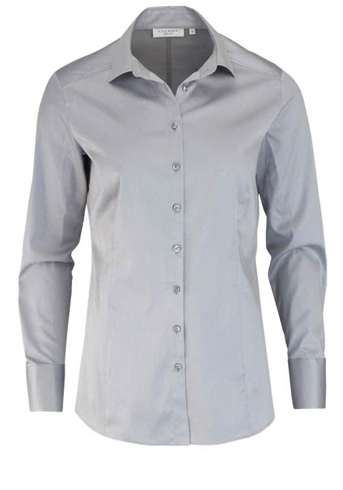 ETERNA Slim Fit Bluse Langarm Hemdkragen Stretch grau