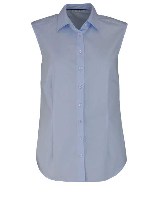 ETERNA Comfort Fit Bluse ohne Arm Hemdenkragen swiss+cotton hellblau