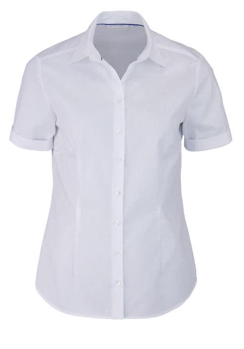 ETERNA Comfort Fit Bluse Halbarm Hemdenkragen swiss+cotton weiß