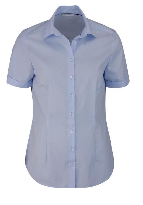 ETERNA Comfort Fit Bluse Halbarm Hemdenkragen swiss+cotton hellblau