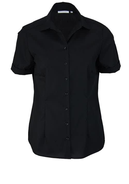 ETERNA Comfort Fit Bluse Halbarm Hemdenkragen swiss+cotton schwarz