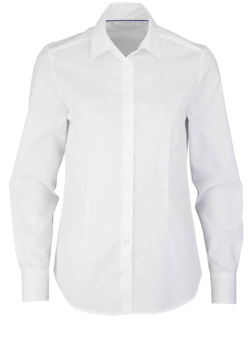 ETERNA Comfort Fit Bluse Langarm Hemdenkragen swiss+cotton weiß