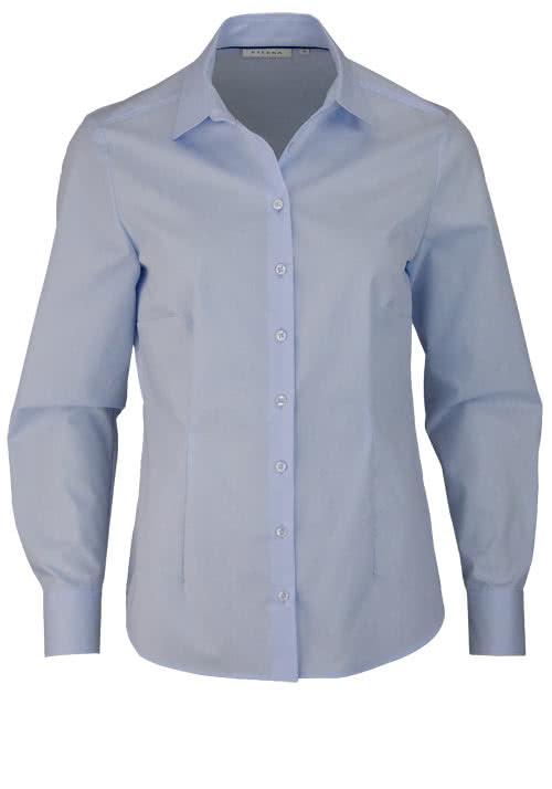 ETERNA Comfort Fit Bluse Langarm Hemdenkragen swiss+cotton hellblau