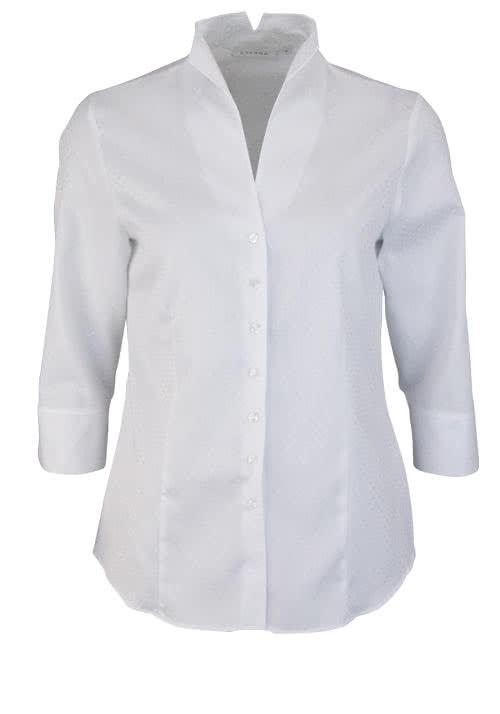 ETERNA Comfort Fit Bluse 3/4 Arm Kelchkragen Punktestruktur weiß