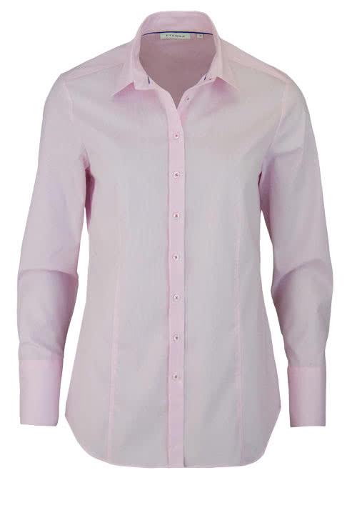 ETERNA Comfort Fit Bluse Langarm Hemdenkragen Streifen rosa