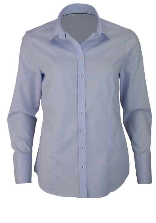 ETERNA Comfort Fit Bluse Langarm Hemdenkragen Streifen hellblau