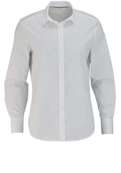 ETERNA Comfort Fit Bluse Langarm Hemdenkragen Stretch weiß