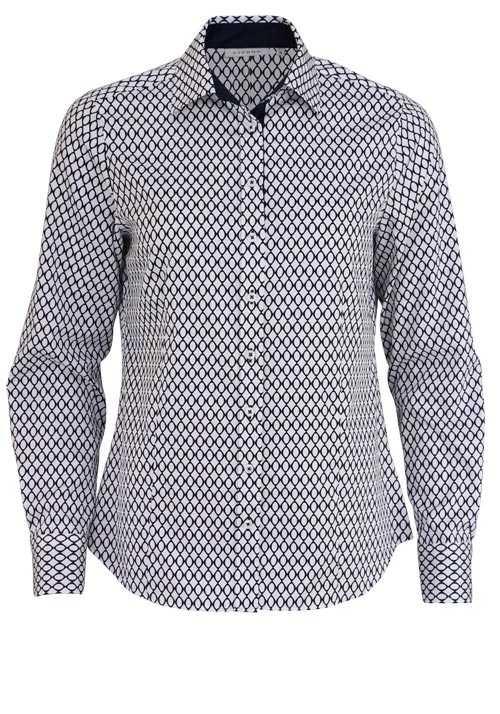 ETERNA Comfort Fit Bluse Langarm Hemdkragen Muster nachtblau