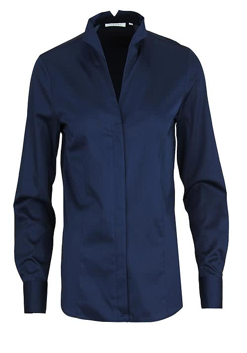 ETERNA Comfort Fit Bluse Langarm Stretch nachtblau