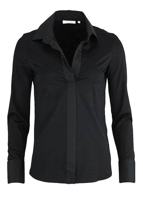 ETERNA Comfort Bluse Langarm offener Kragen Jersey schwarz