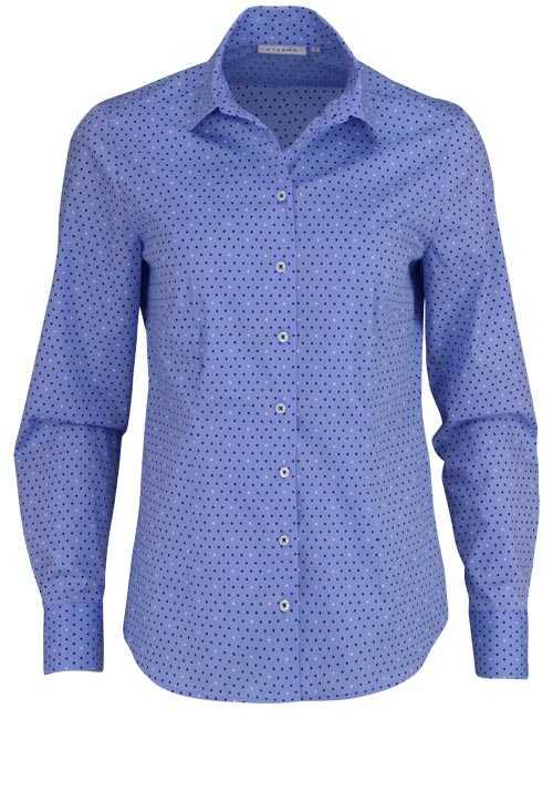 ETERNA Comfort Fit Bluse Langarm Hemdenkragen Stretch Punkte hellblau