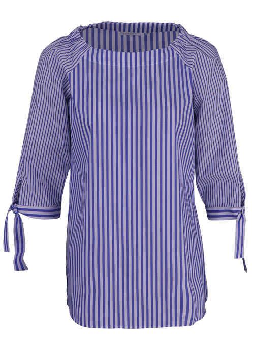 ETERNA Modern Fit Bluse 3/4 Arm bügelfrei Streifen mittelblau