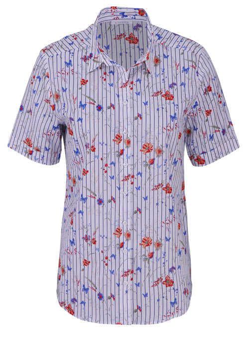 ETERNA Modern Fit Bluse Halbarm Hemdkragen Muster dunkelblau