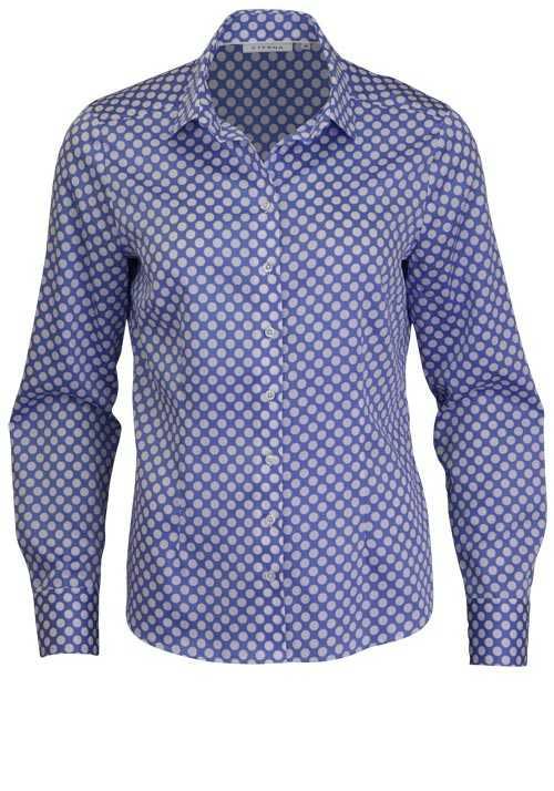 ETERNA Comfort Fit Bluse Langarm Hemdenkragen Punkte hellblau