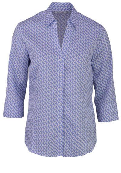 ETERNA Modern Fit Bluse 3/4 Arm Hemdkragen Muster blau