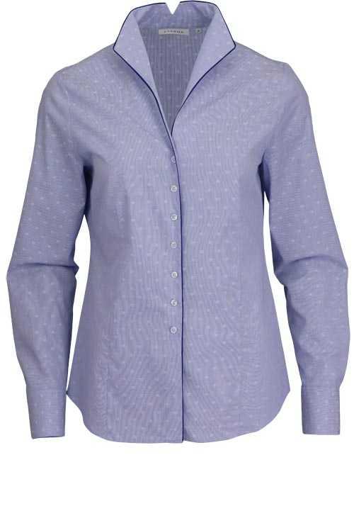 ETERNA Comfort Fit Bluse Langarm Stehkragen Streifen blau