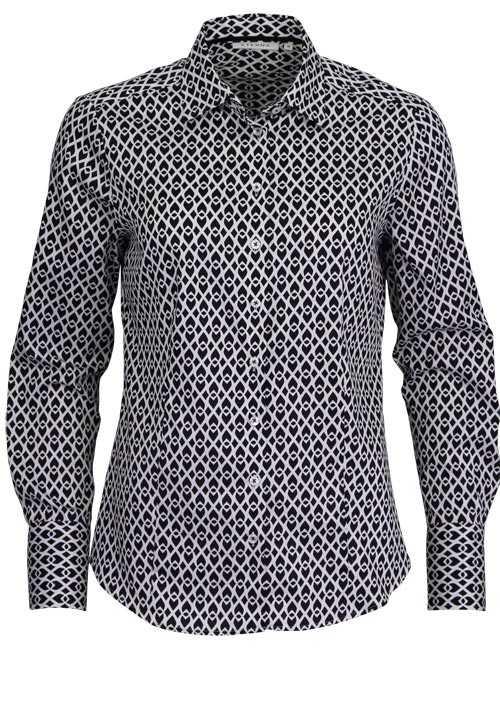 ETERNA Comfort Fit Bluse Langarm Hemdkragen Muster schwarz