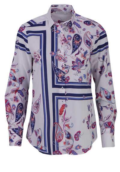 ETERNA Modern Fit Bluse Langarm Hemdkragen Muster rosa