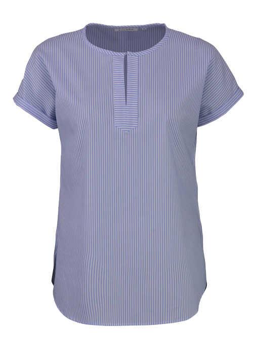 ETERNA Modern Fit Bluse Halbarm Rundhals Streifen blau