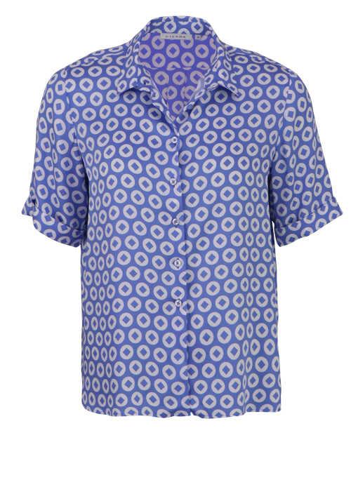 ETERNA Modern Fit Bluse Halbarm Hemdkragen Muster blau