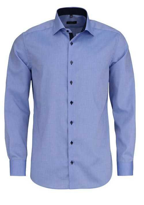 ETERNA Modern Fit Hemd Langarm mit New Kent Kragen Oxford mittelblau