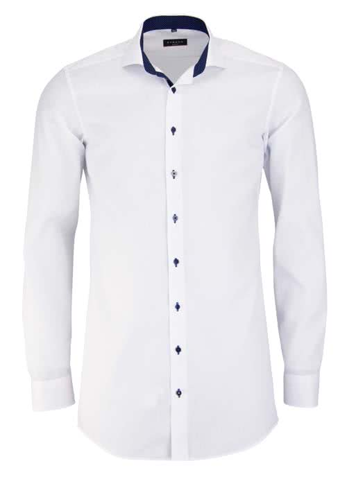 ETERNA Slim Fit Hemd Langarm mit Patch Oxford weiß