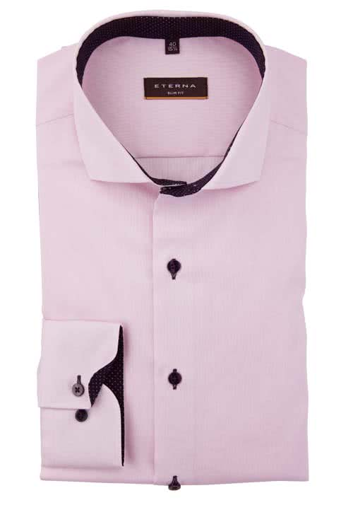 ETERNA Slim Fit Hemd Langarm mit Patch Oxford rosa