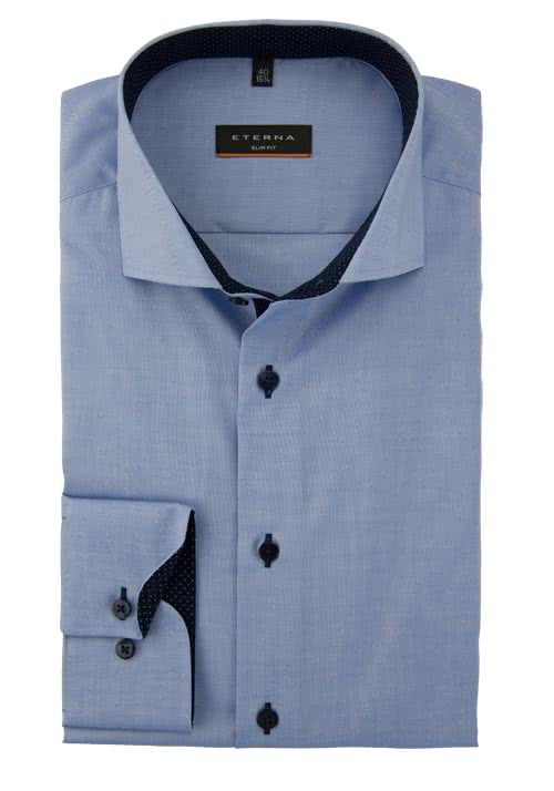 ETERNA Slim Fit Hemd Langarm mit Patch Oxford mittelblau