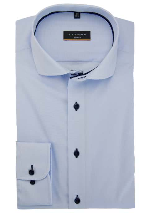 ETERNA Slim Fit Hemd Langarm Kragenband Stretch hellblau