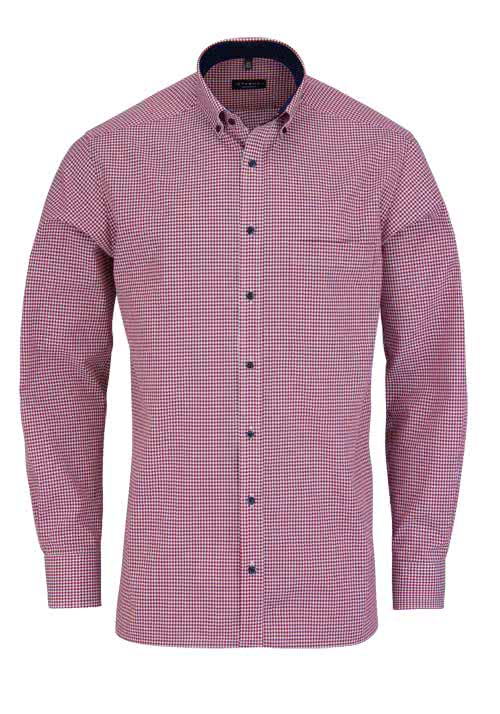 ETERNA Comfort Fit Hemd extra kurzer Arm Karo blau/rot