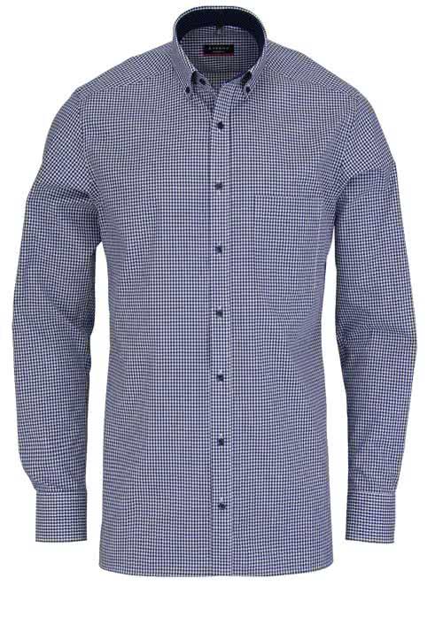 ETERNA Modern Fit Hemd Langarm mit Besatz Karo dunkelblau