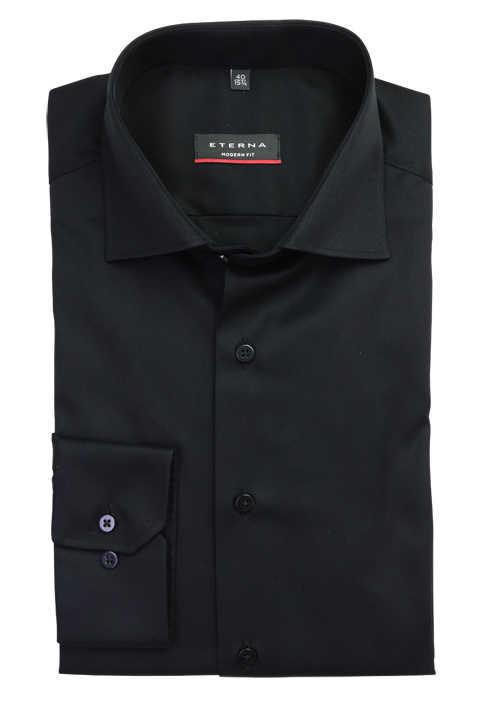 ETERNA Modern Fit Hemd extra kurzer Arm New Kent Kragen schwarz