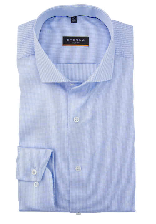 ETERNA Slim Fit Hemd super langer Arm Muster hellblau AL 72