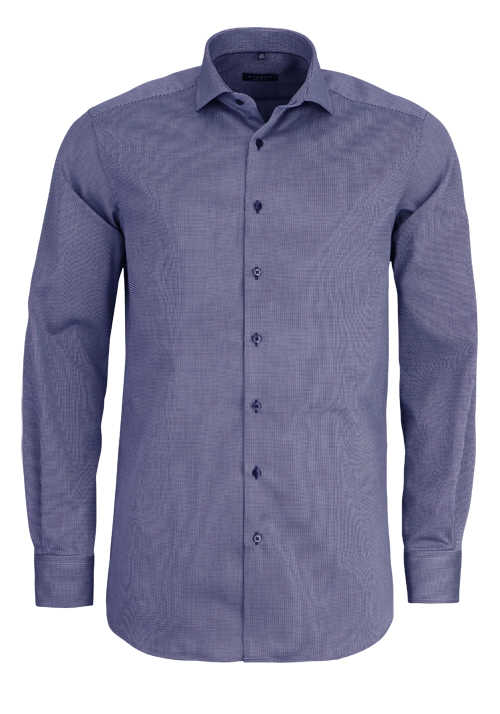 ETERNA Comfort Fit Hemd extra langer Arm Struktur dunkelblau