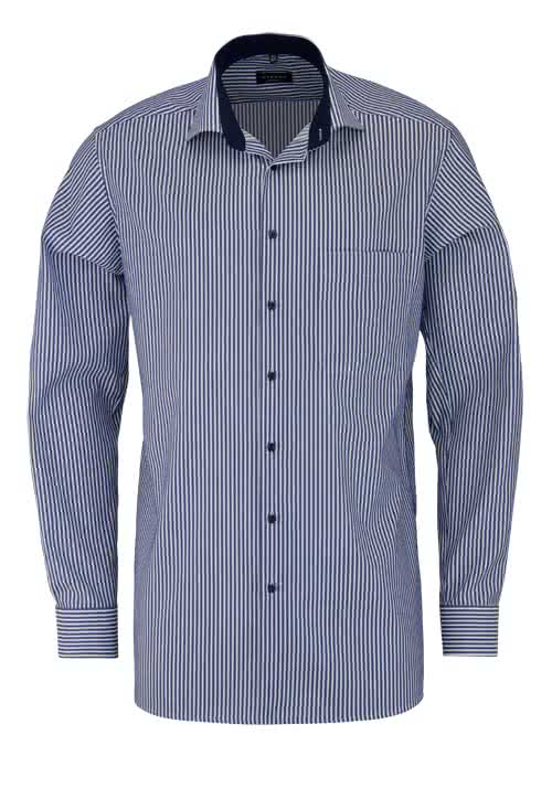 ETERNA Comfort Fit Hemd Langarm New Kent Kragen Streifen nachtblau